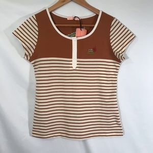 Lacoste brown and cream striped tee shirt